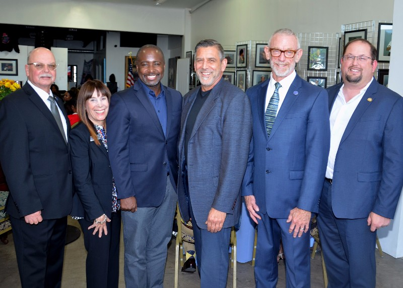 CM Marqueece Harris-Dawson with LCRC Trustees Rich Kissel, Robin Greenberg and Robert Cipolloni. BH/GLAAR GAD James Litz and CEO Chip Ahlswede are on the right.